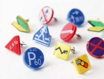 Stop traffic with these terrific Japanese Traffic Sign Earrings