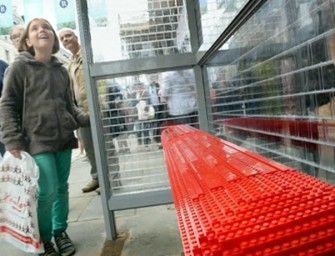 A Life-size LEGO Bus Stop in London is made from 100,000 bricks