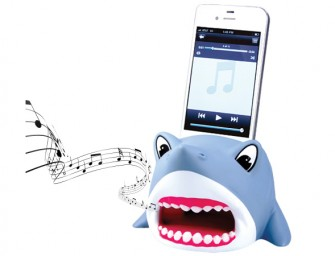 The Shark iPhone Stand amplifies sound rapaciously!