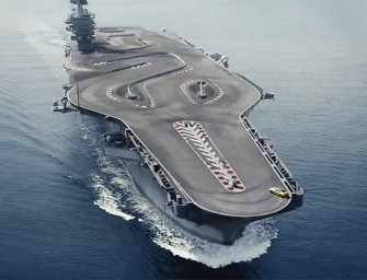 BMW M4 on the Ultimate Racetrack: A US aircraft carrier!