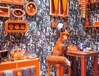 Hermès creates unique Leather and paper Fox's Den Window Display in Barcelona
