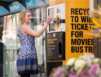 Envirobank reverse vending machine recycles rubbish for rewards!