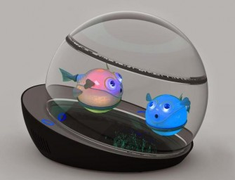 The LumiPUFF Robotic Fish are the world's first wireless induction-powered robotic pet