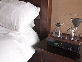 Barisieur is an alarm clock that brews coffee on your bedside