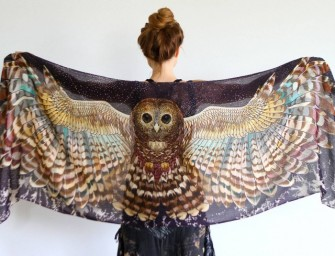 Take flight with the Night Owl scarf by Roza Khamitova