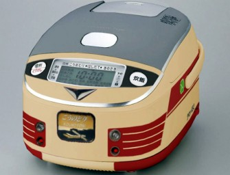 Fake train-themed Rice Cookers charm Japan