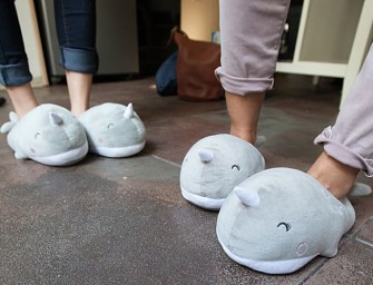 Cute As a Button: Heated Plush Narwhal Slippers