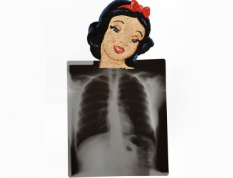 Matthew Fox's Embroidered X-rays show pop culture icons' busts over X-rays: A study in contrasts
