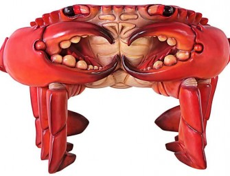 """Giant Red King Crab"" Sculptural Chair: A magnificent throne on your porch"