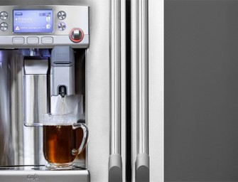 The GE Café Series French Door Refrigerator comes with a Keurig K-Cup Brewing System built-in