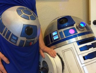 Little R2-D2 Painted Baby Bump is Here