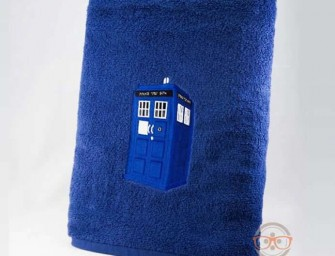 "Doctor Who ""TARDIS"" and ""Dalek"" Inspired Embroidered Bath Towels"
