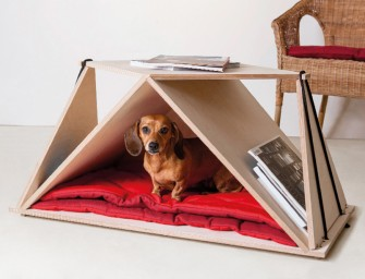 The Nidin origami coffee table is a pet shelter and also a magazine rack: The jack of all tables