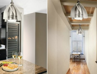 The Terna LED Pendant Fan by Kichler: A space-saving hanging light doubles as a ceiling fan