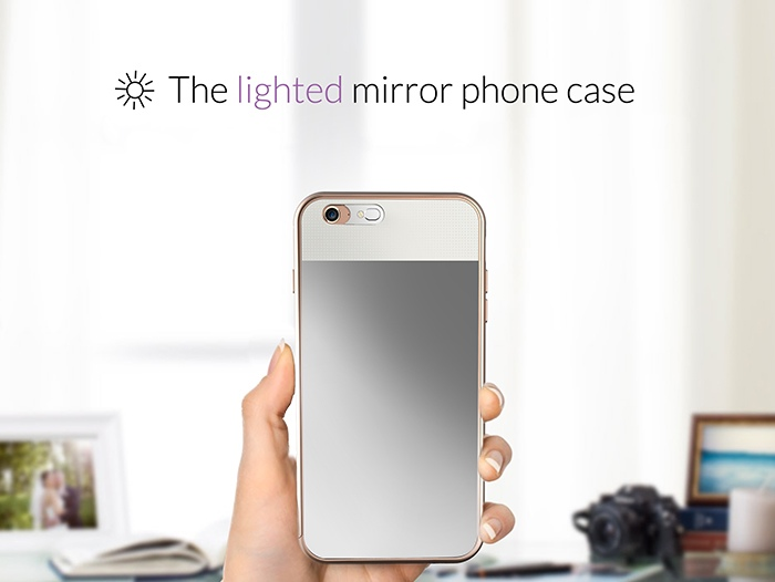 the lighted mirror phone case a protective cover and compact mirror with perfect lighting all. Black Bedroom Furniture Sets. Home Design Ideas