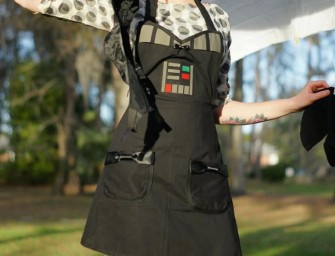 Rule the Kitchen wearing the Darth Vader Kitchen Apron