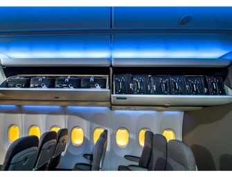 "Boeing introduces giant ""Space Bins"": Overhead bins capable of holding fifty percent more bags"