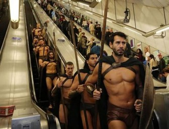 The warriors from 300 surprise London Tube commuters to hilarious consequences