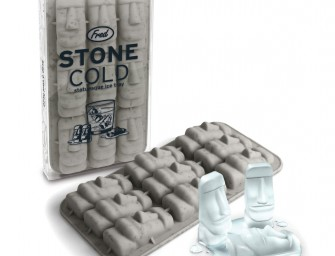 The Fred and Friends Stone Cold Ice Tray: Ancient Moai stone statues lend archeological charm to your cocktail