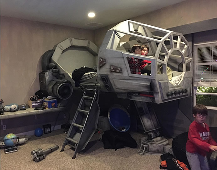 dad builds star wars themed bedroom with millennium falcon star wars bedroom for a little boy