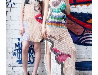 Gowns made of plastic fake nails look unbelievable fashionable!