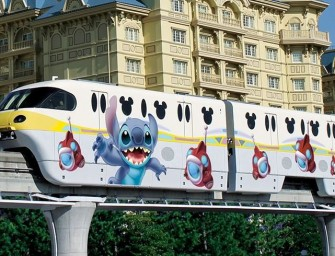 A Stitch Encounter Monorail introduced at Tokyo Disneyland