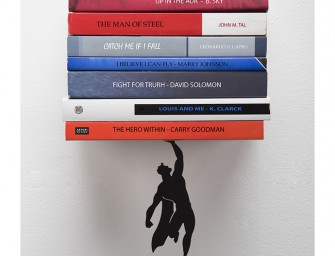 Book & Hero Bookend by Artori Design: The brave superhero to save your books from disaster